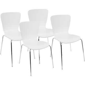 Woodstacker Contemporary Dining Chairs, White (Set of 4)