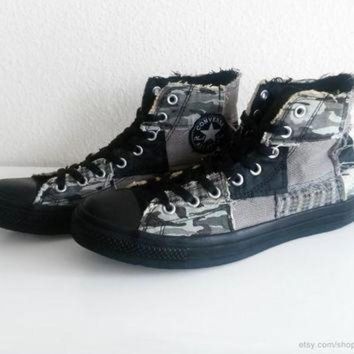 ICIKGQ8 patchwork converse all stars high tops black grey camouflage tweed houndstooth