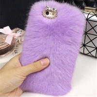 LANCASE For iPhone 8 Case Glitter Luxury Rabbit Fur Rhinestone Bling Soft TPU Case For iPhone 8 Plus Cover Phone Case Shockproof