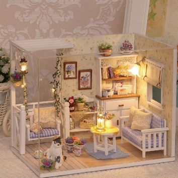 Cutebee Light Up LED 1:32 Miniature Dollhouse and Furniture DIY Project Toys