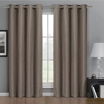 Brown 52x63 Gulfport Faux Linen Blackout Weave Grommet Window Curtain Panels