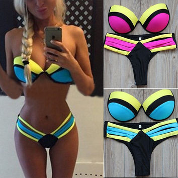 2015 Sexy Women Push UP Swimwear Bikini Brazilian Patchwork Swimsuit Strappy Swimwear Bathing suits Biquini#28 = 1956800068