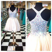 Rhinestone Short Cocktail Homecoming Evening Dress Sexy Party Prom Formal Gown