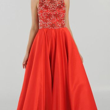 Red Cut Out Back Beaded Long Prom Dress with Pockets