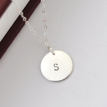 silver initial disc necklace - personalised initial necklace - customised letter necklace - layering necklace - bridesmaid gift
