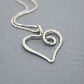 Heart necklace 925 Sterling Silver swirly whimsical heart, handmade anniversary gift for her