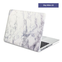 Hard Case Print Frosted White Marble Case Cover for Macbook Air Pro Retina 13 15 inch
