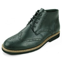 Mens Wing Tip Ankle Boots Dressy Lace up Leather Derby Shoe Brogue Medallion Toe