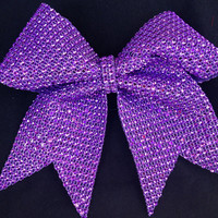 1 Purple Rhinestone Bling Cheer Cheerleading Dance Bow Ribbon