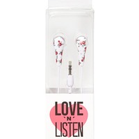 FOREVER 21 Rose Print Earbuds White/Pink One