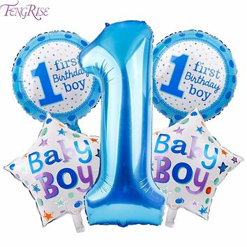 FENGRISE 5pcs Baby 1st Birthday Balloons Blue Pink Foil Balloons Happy Birthday Party Decoration Kids I AM ONE Party Supplies