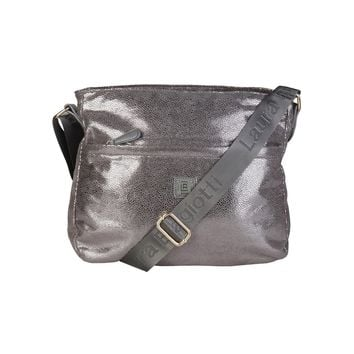 "Women's Light Grey Metallic Vegan Leather ""Laura Biagiotti"" Crossbody Messenger Bag/Handbag"
