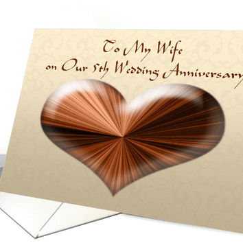 To My Wife on Our 5th Wedding Anniversary, Card