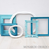 Teal Dark & Light, White Collection - Wall Gallery - Upcycled Set Of 6