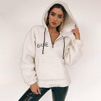 Women Casual Simple Fashion Letter Embroidery Loose Hooded Long Sleeve Keep Warm Sweater Coat
