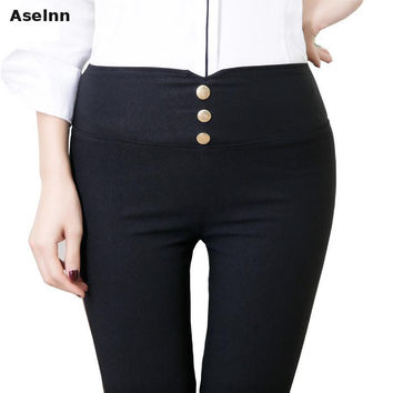 Aselnn 2017 Spring Black Metal Buckle Pencil Pants High Waisted Casual Skinny Elastic Back Pocket Trousers Pantalon Femme