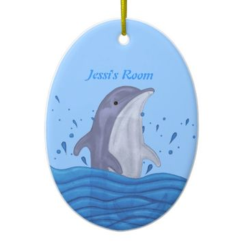 Dolphin Splash Ceramic Ornament