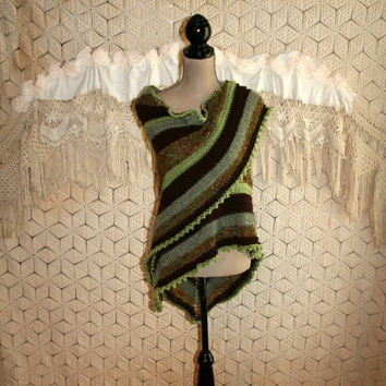 Brown and Green Knit Shawl Handmade Unique Hippie Shawl Triangle Shawl Hippie Clothing Earthy One of a Kind Mothers Day Gift Idea for Her