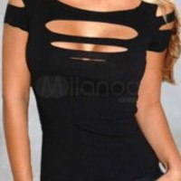Sexy Black Off The Shoulder Acrylic Spandex Womens Club Top -  Milanoo.com