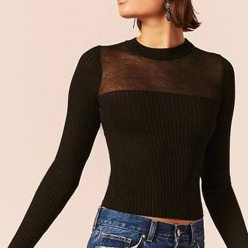 Sheer Mesh Knit Top