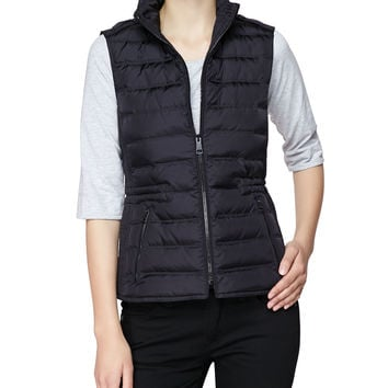 Twin Needle Quilted Zip-Front Gilet,