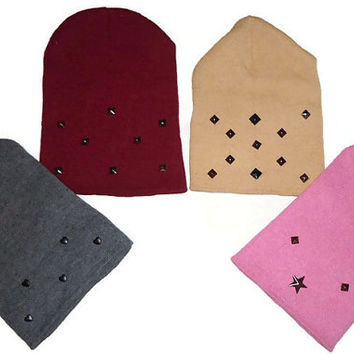 Studded Beanie Womens One Size Winter Fashion Accessory Hat in Pink, Gray, Beige or Maroon