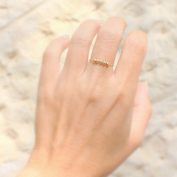 Thin Gold Ring - dainty ring, 14k gold filled chain with five tiny gold beads, stackable gold rings, simple ,gold filled ring