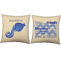 Aquarius Zodiac Throw Pillows