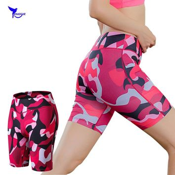 Quick Drying Skinny Shorts Women Reflective Camouflage Elastic Fitness Casual Short Pants Workout Mid Waist Compression Shorts