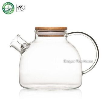 DCCKJG2 Clear Glass Teapot Water Tea Kettle with Bamboo Lid and Filter 950ml 32.12oz