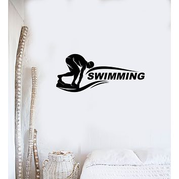 Swimmer Vinyl Wall Decal Word Swimming Pool Water Interior Room Stickers Mural (ig5940)