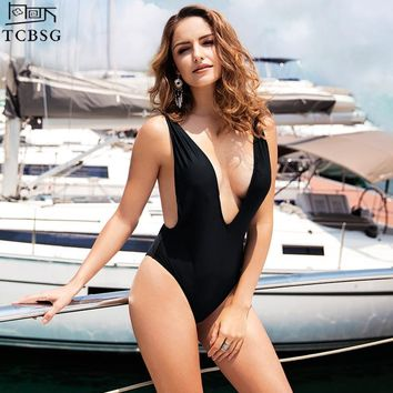 TCBSG 2018 Newest Sexy One Piece Swimsuit Female Backless Bodysuit Swimming Black Brazilian Monokini Swimwear Women Bathing Suit