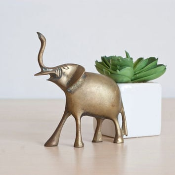 Small Brass Elephant Figurine, Little Brass Elephant Statue, Aged Brass Patina, Vintage Gift