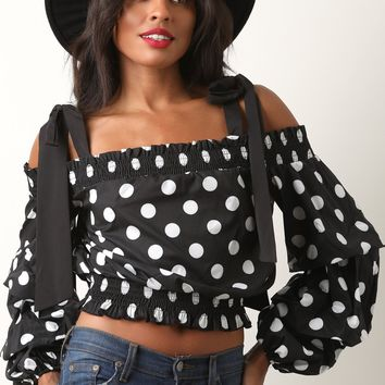 Polka-Dot Smock Crop Statement Sleeve Top