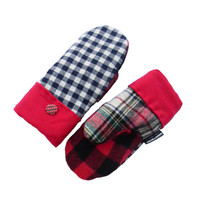 Blue Check and Plaid Wool Mittens Recycled Mittens Women's Navy Red White Black Made in USA Lumberjack by Sweaty Mitts Wisconsin Reclaimed