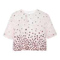 Pink Multi Flower Embroidered Evening Top by Monique Lhuillier - Moda Operandi