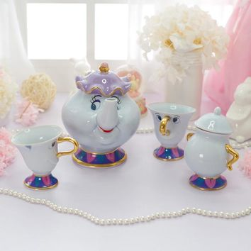 Beauty And The Beast Tea Set Mrs Potts Chip Teapot Cup Set Porcelain Coffee Valentine's Day Gift [1 Pot + 2 Cups + 1 Sugar Bowl]