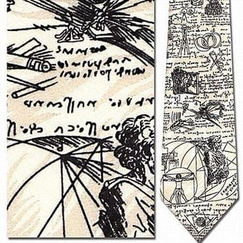 Leonardo DaVinci Sketches Silk Neck Tie