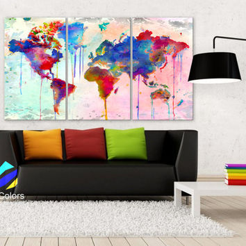 "LARGE 30""x 60"" 3 Panels Art Canvas Print Map world Watercolor Abstract  Colorful Wall decor Home Office interior Decor (framed 1.5"" depth)"
