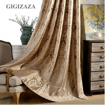 Firefly Jacquard window curtains heavy fabric high quality with silver wire embed 60% shading for livingroom floral ivory color
