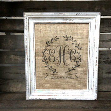 Triple Monogram Burlap Art Print - Couple's Initials and Last Name - Personalized Wedding Gift - Anniversary Gift - Engagement Gift