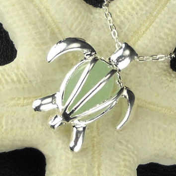 Sea Turtle Necklace Light Aqua GENUINE Sea Glass Silver Honu