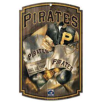 "PITTSBURGH PIRATES COOPERSTOWN THROWBACK JERSEY WOOD SIGN 11""x17"" NEW WINCRAFT"