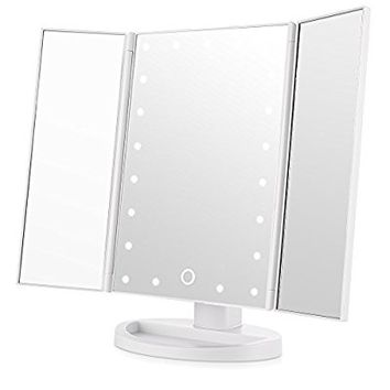 Easehold Led Lighted Vanity Mirror Make Up Tri-Fold with 21Pcs Lights 180 Degree Free Rotation Table Countertop Cosmetic Bathroom Mirror(White)
