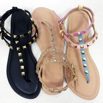 Val Gladiator Studded Sandals