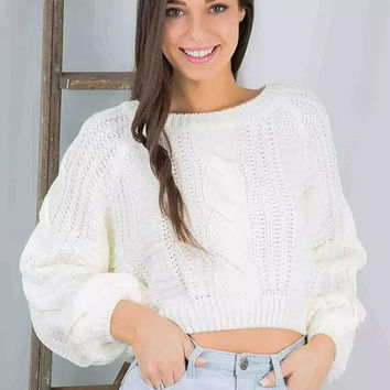 White Cuff Sleeve Cropped Knit Sweater