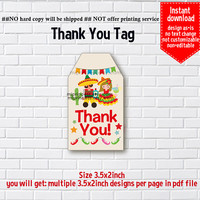 Instant Download, Mexican party, #1161 gift tag, thank you  fiesta party, Thank you TAG, 3.5x2inch printable, non-editable NOT CUSTOMIZABLE