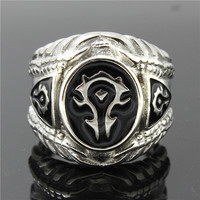 Mens Boys 316L Stainless Steel Cool Punk Gothic World of Warcraft WOW Alliance Ring Game