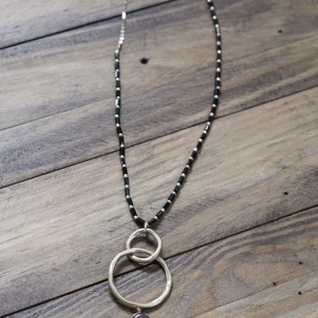 Teardrop Stone w/Gold Linked Circles Necklace, Black