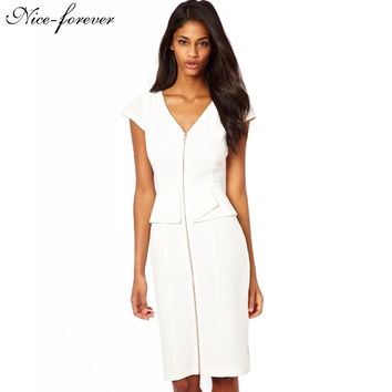 Nice-forever V neck Formal Zip dress Women Party Career Work Knee length Evening Tunic Business Party Pencil Dress 435
